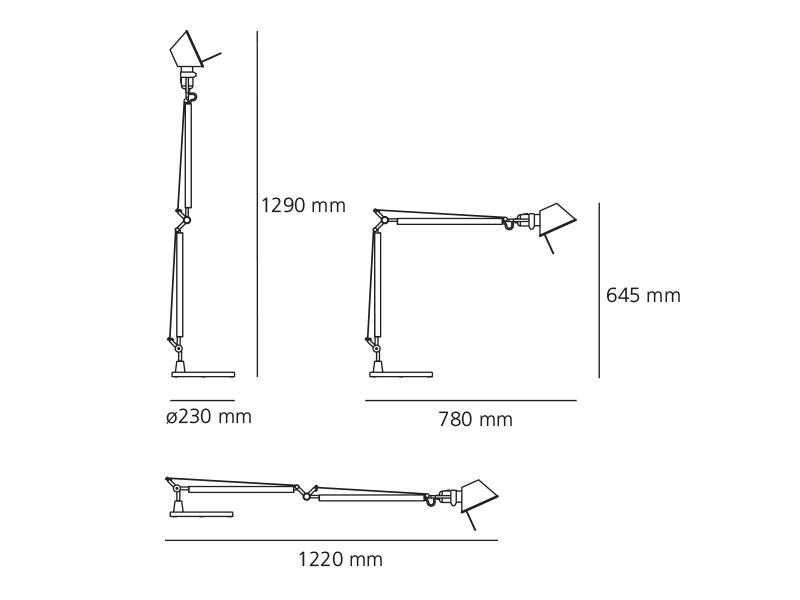 Tolomeo led alluminio c base tavolo artemide for Artemide lampade roma